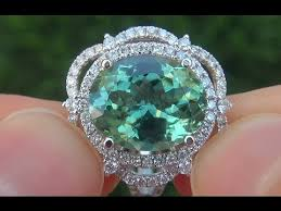 blue green rings images Certified jewelry vvs natural blue green tourmaline diamond 14k jpg