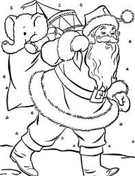 santa on snow christmas coloring page christmas coloring