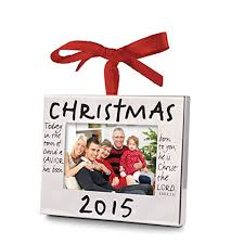 2015 photo frame tree ornament with scripture and ribbon