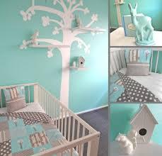 baby wandgestaltung babyzimmer gestalten aqua blau grau wandgestaltung baum schablone