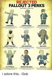 Vault Boy Meme - rejected fallout 3 perks vault boy s runners up foppish dandy