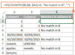 excel compare two columns for matches and differences