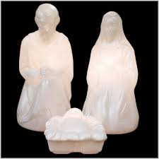 Lighted Outdoor Christmas Nativity Scene by Lighted Plastic Holy Family For White Marble Nativity Bronner U0027s