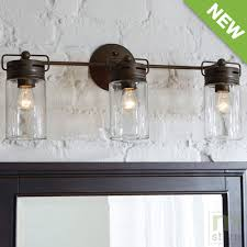 bathroom vanity 3 light fixture aged bronze mason jar wall lighting allen roth