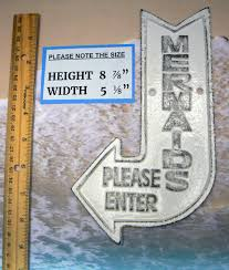 mermaids please enter cast iron sign white shabby chic cottage