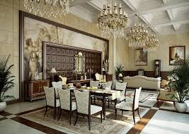 traditional interior design with blue textured wallpaper dining