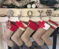 Christmas Stocking Decorations With Glitter by Choose Four 4 Christmas Stockings Burlap With Red Accent Cuffs