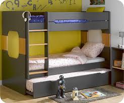 lit superposé chambre lit superposé spark gris et hêtre 90x200 cm avec sommier gigogne gris