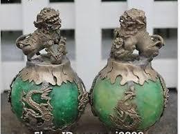 jade lion statue tibet silver imitate green jade lion beast