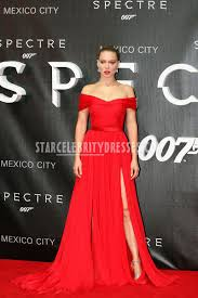 lea seydoux spectre premiere red long off shouldered prom dress