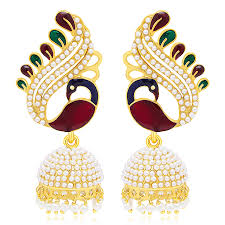 craftsvilla earrings buy craftsvilla ritzy peacock gold plated earring for women online