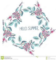 background with a wreath of flowers and lettering hello summer