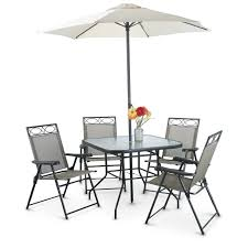 Patio Furniture Set With Umbrella - amazon com outdoor 6 piece folding patio dining furniture set