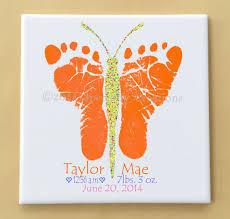 butterfly footprints tile plaque baby or child s actual