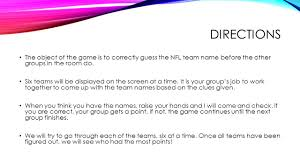 nfl teamwork group guessing game directions the object of the