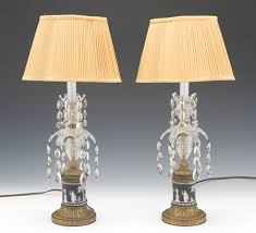 a pair of gilt patinated brass wedgwood and czech crystal