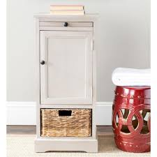 storage unit with wicker baskets safavieh raven distressed cream storage end table amh5703c the