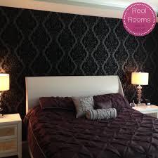 vintage noir flock wallpaper damask wallpaper graham brown