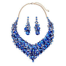 blue crystal statement necklace images Lovfashion wedding jewelry sets blue crystal jpg