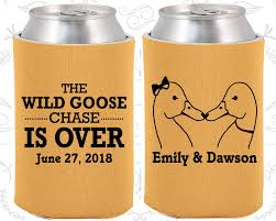 wedding personalized koozies the goose is custom wedding goose farm