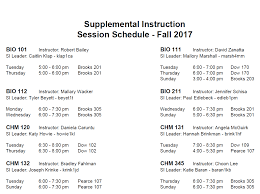 supplemental instruction fall 2017 schedule central michigan