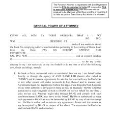 Will Power Of Attorney Forms by Free Axis Bank Power Of Attorney India Pdf Template Form