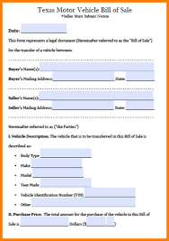 Bill Of Sale Motor Vehicle Form 13 tx bill of sale form coaching resume