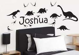 20 dinosaur silhouette wall decals rex skull silhouette wall dinosaur silhouettes with any custom name wall stickers black ebay