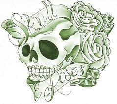 skull rose and banner tattoo sample real photo pictures images