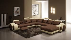 Leather Sectional Sofa Bed by Furniture 4084 Contemporary Brown And Beige Leather Sectional Sofa