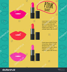 pink color shades lipstick infographic three pink color shadesvector stock vector