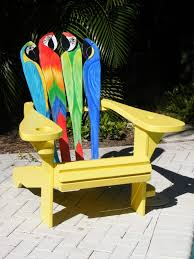 a one of a kind parrot design adirondack chair featuring a curved