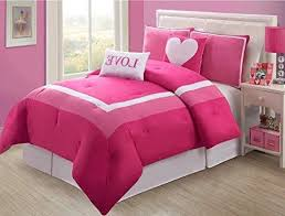girls light pink love twin comforter set pretty heart girly