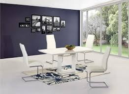 Extendable Dining Table And 4 Chairs Furniture Modern White Gloss Extending Dining Table With 4 White