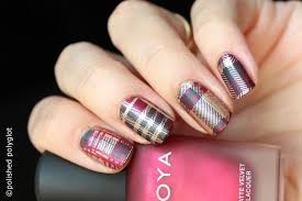 nail art tartan pattern nail design 26gnai polished polyglot