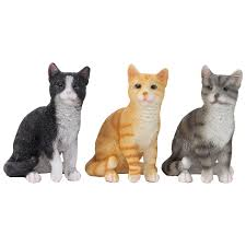 3 realistic small 12cm sitting cat ornaments black grey