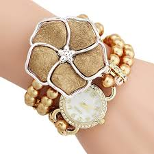 pearl fashion bracelet images Personalized flowers pearl wrapped bracelet watch ladies fashion jpg