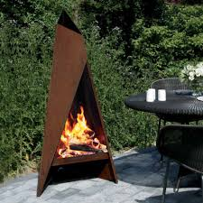 Clay Fire Pit Heta Tipi Garden Steel Chimenea Corten Steel Fireplace
