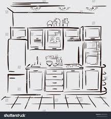 Kitchen Design Sketch Interior Design Sketch Kitchen Hand Drawn Stock Illustration