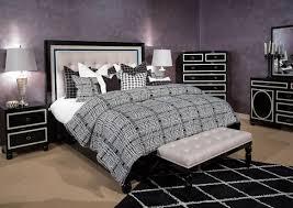 Aico Amini Hollywood Swank Michael Amini 4 Pc Sky Tower Modern Bedroom Set Black Onyx Usa