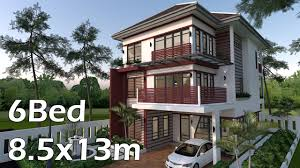 3 story house sketchup 3 story house 8 5x13m with 6 bedrooms and 6 bathrooms