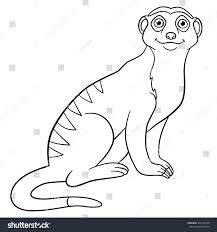 coloring pages little cute meerkat sits stock vector 466139108