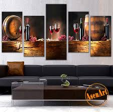 Grapes And Wine Home Decor Modern 5pcs Canvas Wall Paintings Fruit Grape Wine Glass