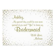 bridesmaids invitations be my bridesmaid gold confetti card zazzle co uk