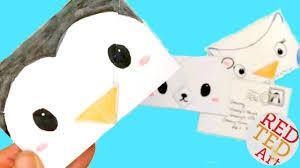 easy origami envelope winter animals polar bear penguin owl