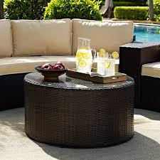crosley furniture catalina outdoor wicker round glass top coffee