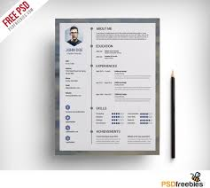 free resume templates download psd templates free clean resume psd template psdfreebies com