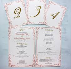 scroll wedding programs coral pink and gold swirly scroll border wedding invitations
