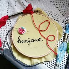 bonjour embroidery floral hoop floral art flowers french