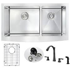 kitchen sink and faucet sets anzzi elysian farmhouse stainless steel 33 in bowl kitchen